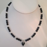 Blue tigers eye and quartz necklace with Swarovski heart pendant‏ featured