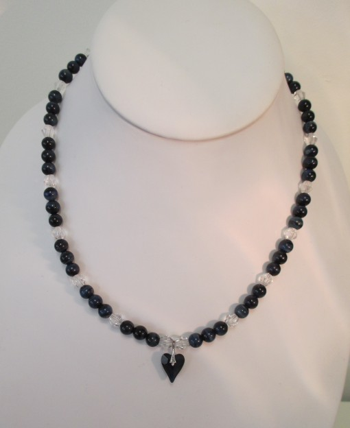 Blue tigers eye and quartz necklace with Swarovski heart pendant featured