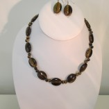 Tigers eye ovals necklace or set‏