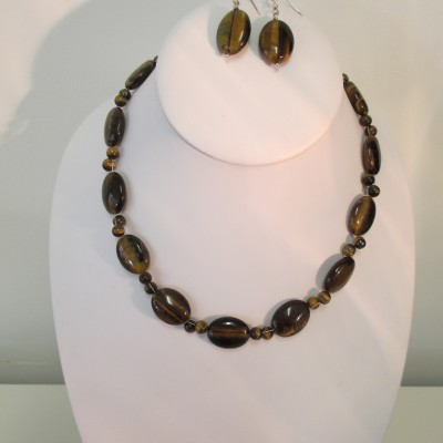 Tigers eye ovals necklace or set