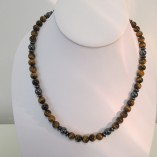 Tigers eye and hematite necklace (unisex)