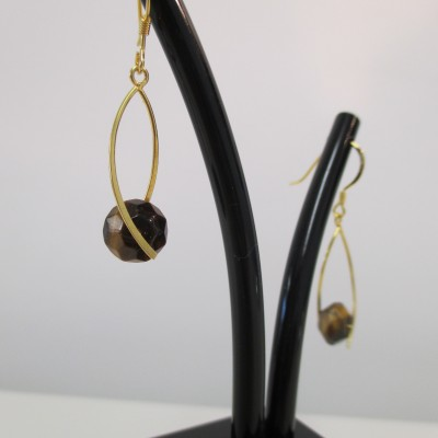Tigers eye wishbone earrings‏