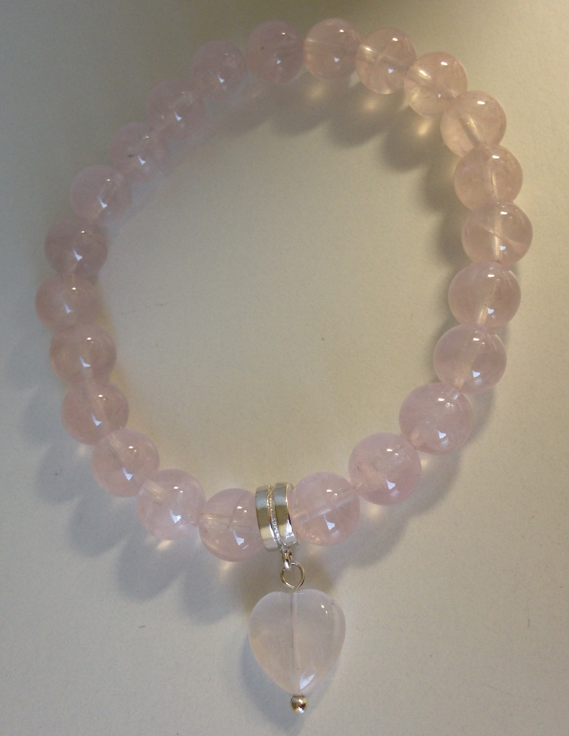 Rose Quartz Bracelet With Heart Charm Made By Marianne