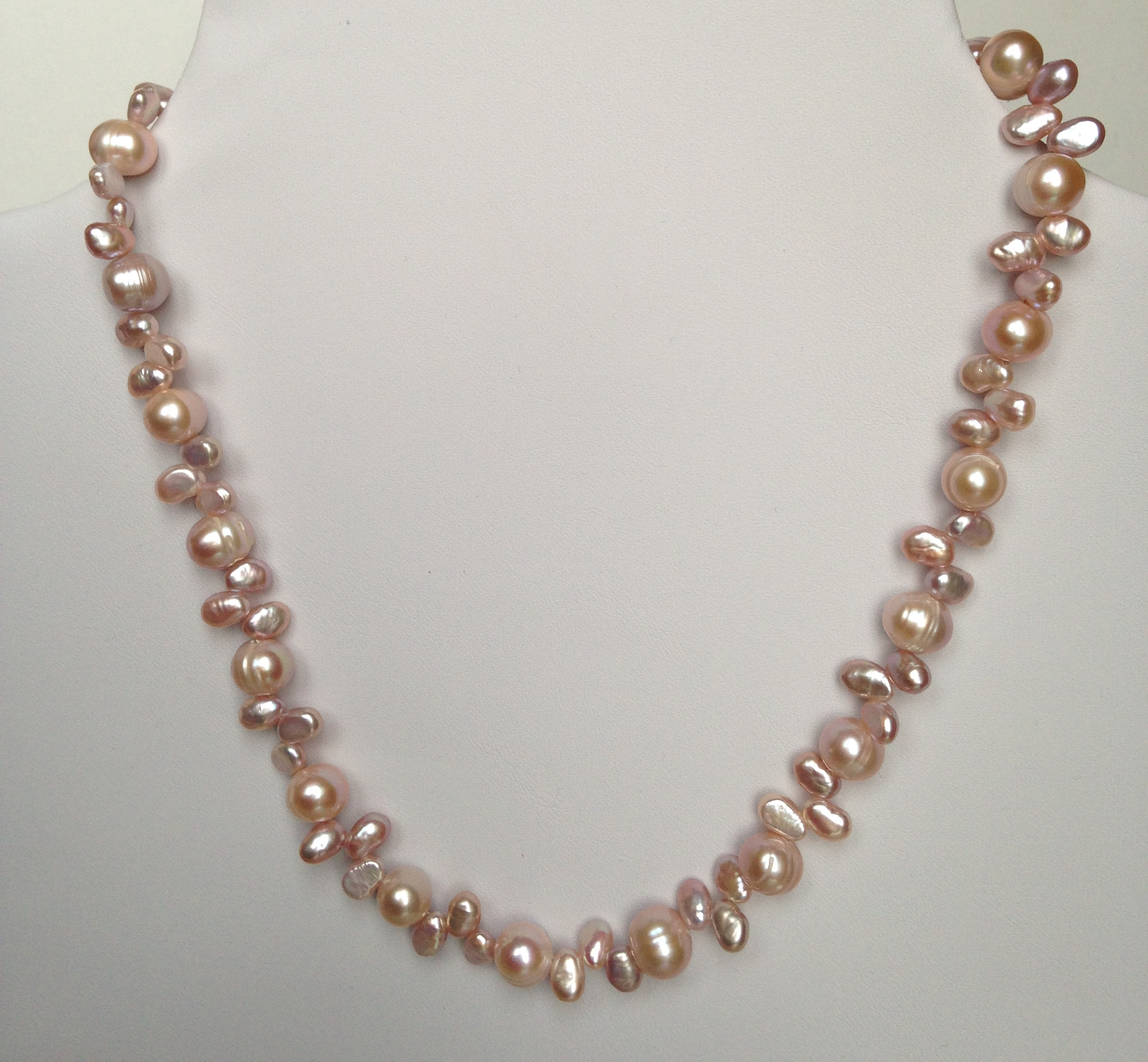 edwards station length pink pearl adjustable product necklace and davies closure silver with freshwater