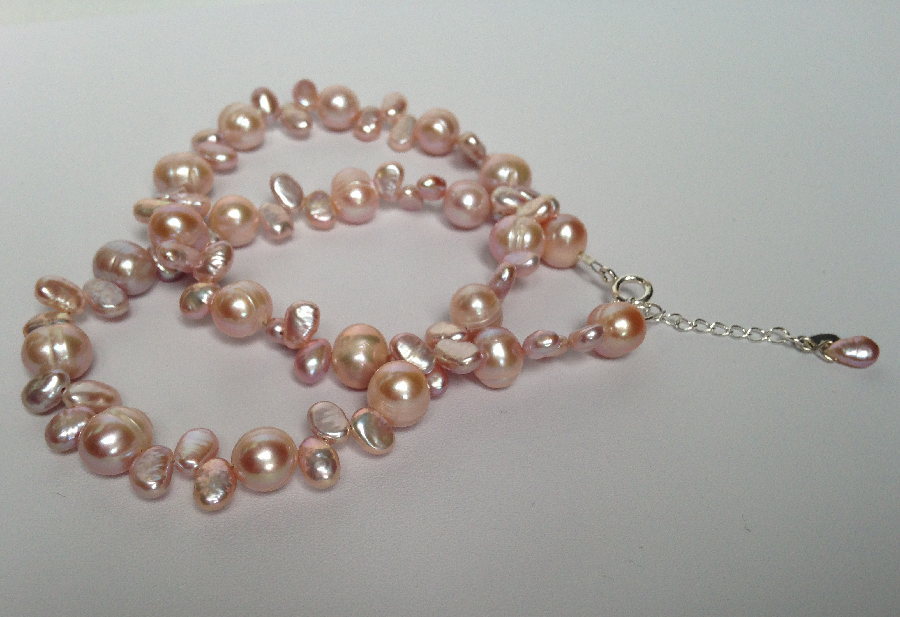 Natural Pink Pearl Necklace Or Set Made By Marianne